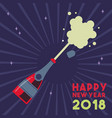 happy new year 2018 party drink bottle splash vector image vector image