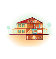 house cross section rooms plan cartoon vector image vector image