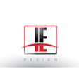ie i e logo letters with red and black colors and vector image vector image