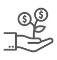 investment growth line icon finance and banking vector image