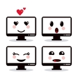 Kawaii icon Computer Cartoon design vector image vector image