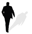man walking silhouette art with shadow vector image vector image