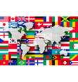 Map on a background of flags vector image vector image