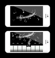 music application on mobile phone with notes and vector image vector image