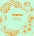 pineapple and tropic flowers summer poster line vector image vector image
