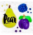 Plasticine fruits pear vector image vector image