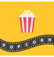 Popcorn Big film strip wave ribbon line with text vector image vector image