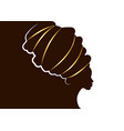 portrait beautiful african woman in afro turban vector image vector image
