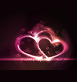 Red pink glowing hearts frame vector image vector image