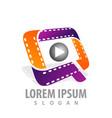roll cinema-movie film media play logo vector image vector image