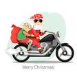 santa claus and mrs riding on a steep motorcycle vector image
