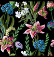 seamless pattern with lilies and wild flowers vector image