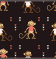 seamless pattern with monkey on black vector image vector image