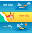 Summer Holidays Banner with Young Couple on Beach vector image vector image