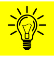 symbol light bulb on yellow background vector image vector image