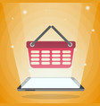 tablet computer with shopping basket in its light vector image vector image