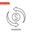 transfer icon thin line vector image vector image