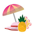 umbrella hat and pineapple flower tropical summer vector image vector image
