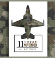 veterans day celebration with military airplane vector image vector image