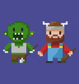 viking pixel character and villain monster zombie vector image vector image