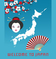 welcome to japan poster template vector image vector image