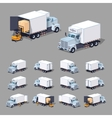 White truck refrigerator vector image