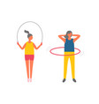 woman doing exercises fitness activities set vector image vector image