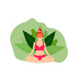 yoga girl meditate outdoor in park lotus position vector image