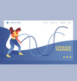young woman doing exercises with power rope vector image vector image