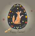 festive easter egg with cute character of fox vector image