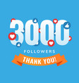 3000 followers social sites post greeting card vector image vector image