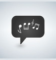 a chat bubble icon with a g clef and music notes vector image