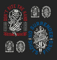 a set two edgy tattoo style graphics vector image vector image