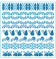 blue oriental ottoman border design two vector image vector image
