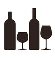 bottles and glasses alcohol vector image vector image