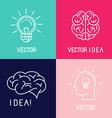 brain logo design elements vector image