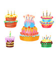 cartoon color cakes set vector image