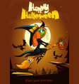 cartoon witch flying poster vector image
