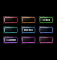 colorful neon square signs set buy now learn more vector image