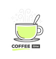 creative cup of coffee with spoon with te vector image