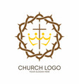 crown of thorns and cross vector image vector image