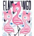 cute flamingos girl cartoon with tropical elements vector image vector image