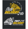 Delivery elements Yellow and white signs labels vector image vector image