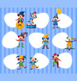 different border templates with funny clowns vector image vector image