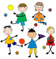 doodle cartoon kids playing on white background vector image vector image