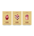 double cake tiramisu and strawberry cupcake vector image