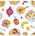 elegant seamless pattern with appetizing breakfast vector image