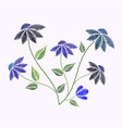 embroidery stitches with flowers and leaves vector image vector image