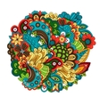 Ethnic colored floral circular pattern vector image vector image