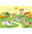 Farm Family with background vector image vector image